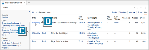image showing how to use the new logos Bible books explorer